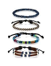Flongo Men's Women Unisex Vintage Handmade Braided Leather Bead Surf Cuff Bracelet Set