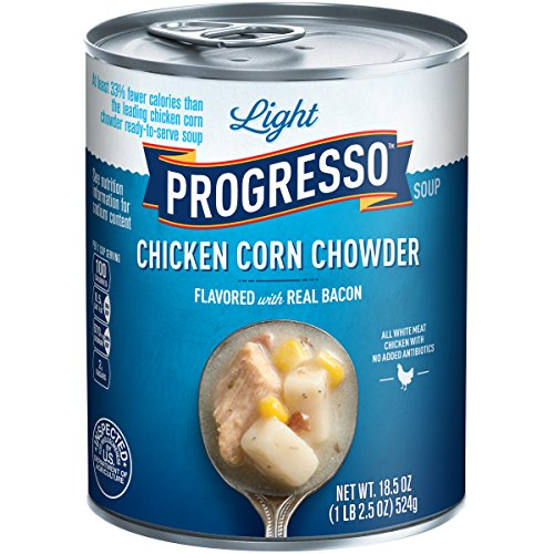 Progresso Light Soup, Chicken Corn Chowder with Bacon Soup, 18.5-Ounce Cans (Pack of 12)
