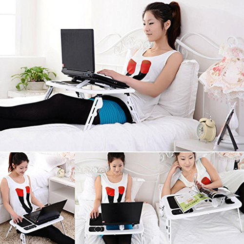 Folding Lap Desk Adjustable Laptop Table for Home, Bed with 2 Cooling Fans, Mouse Pad, Drink Holder and Pen Holder by rampmu (Image #2)