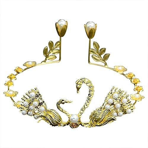 Women Tiara Swan Pearl Headdress Crown Wedding Hairwear Birthday Headband Gold-color]()