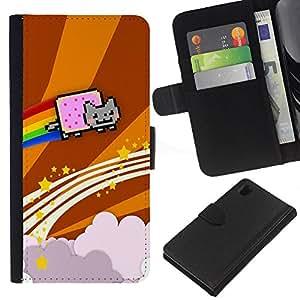 Sony Xperia Z1 L39 C6902 C6903 C6906 C6916 C6943 , la tarjeta de Crédito Slots PU Funda de cuero Monedero caso cubierta de piel ( Cat Flying Rainbow Computer Game Music Art)
