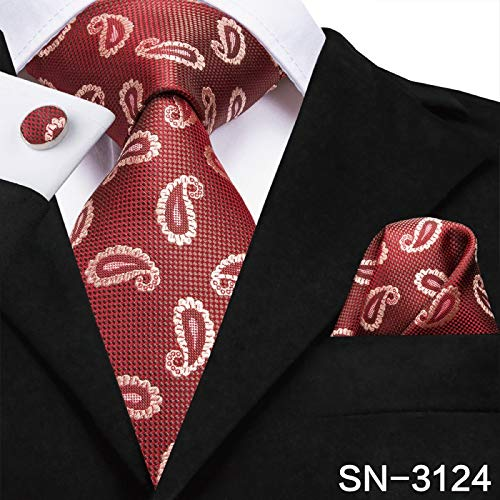 Tie 8.5cm Silk Men Tie Floral Red Blue Neckties for Men Classic Party Wedding Pocket Square Cufflinks Luxury Tie Set