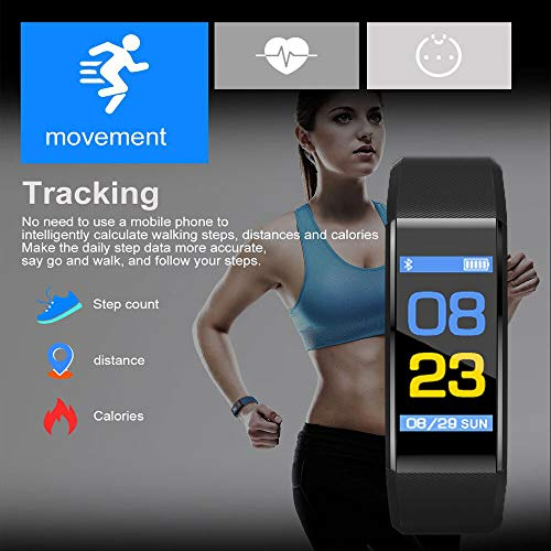Sketchfab Smart Fitness Band for Men Women Sports/Gym/Health Lovers with Heart Rate Monitor Activity Tracker, Steps/Calorie B.P Counter Digital Watches OLED Band for Kids Boys Girls (Black)