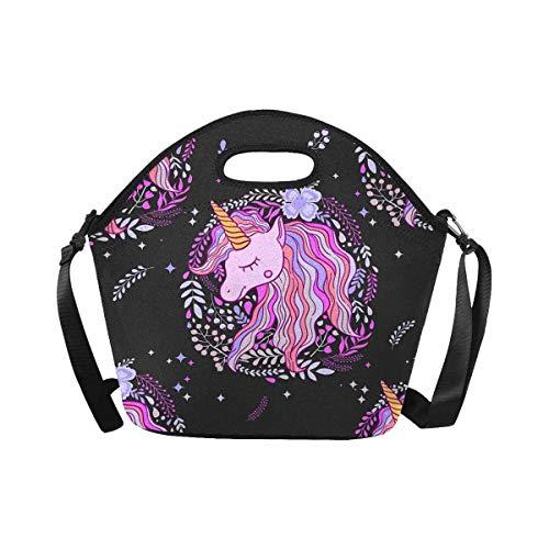 InterestPrint Large Insulated Neoprene Lunch Bag Cute Fairy Unicorn Lunchbox Handbag with Shoulder Strap