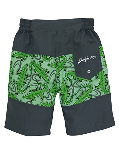SunBusters Boys Board Short (UPF 50+), Ice Green Croc, 8/10 yrs
