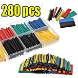 SOLOOP 280Pcs 8 Sizes Heat Shrink Car Electrical Wire Cable Tubing Tube Sleeving Wrap With Box