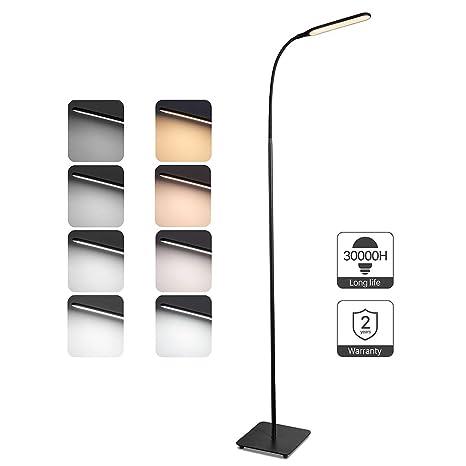 Taotronics Stehlampe Led Dimmbar 10w Stehleuchte 4 Farbmodi 5 Helligkeitsstufen Modern Bodenlampe Zum Lesen Und Arbeiten Flexibler Schwanenhals