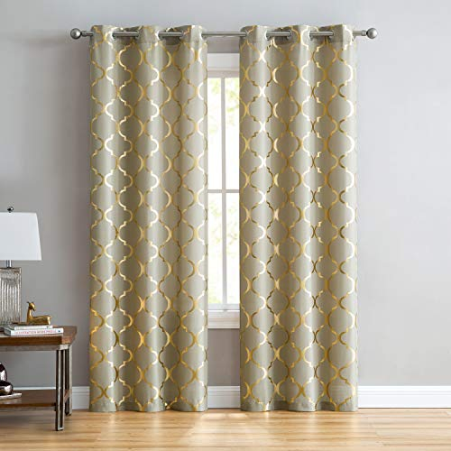 Four Seasons Quilt Shop - VCNY Home Juliette Window Curtains Panel Pair, 38x108, Gold
