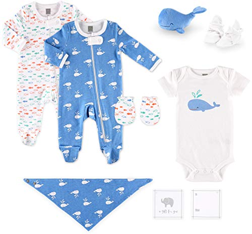Pack Gift 10 Piece - The Peanutshell Whale Baby Clothes - 10 Piece Nautical Themed Baby Gift Set, Newborn to 3 Months