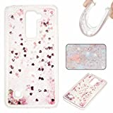 KSHOP LG Stylus 2 LS775/LG G Stylo 2 K520 Case 3D Creative Luxury Bling Glitter Liquid Case Infused with Glitter Heart Moving Soft TPU Bumper Back Hybrid Shockproof Protection Case Cover scratch shock - Pink
