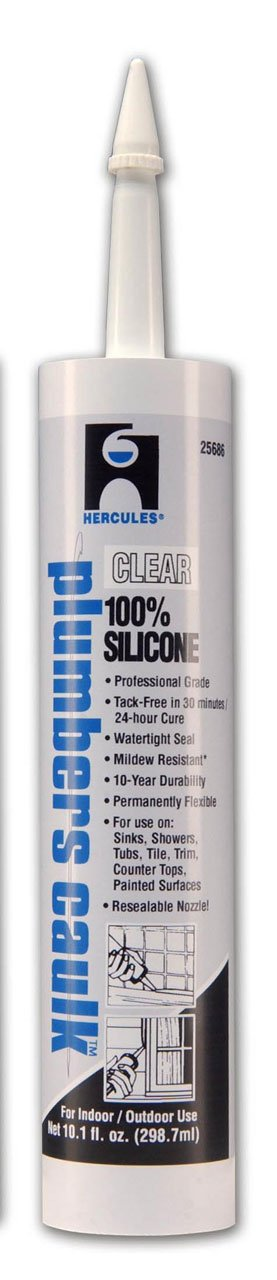 Oatey 25686 Hercules 11-Ounce Clear Cartridge Silicone Plumber's Caulk 25686 Hercules 11 oz Clear Cartridge Silicone Plumber' s Caulk