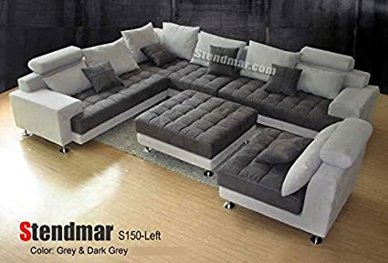 Amazon.com: 5PC MODERN 2-TONE GREY MICROFIBER BIG SECTIONAL SOFA SET ...