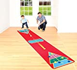 Shuffleboard Rug Game - Classic Shuffle-Board Party Game for All Ages | Fun Floor Games for Adults and kids W2.25' x L12' |Kit Includes 2 Wooden Cues and 10 wooden Pucks - Indoors | Outdoors
