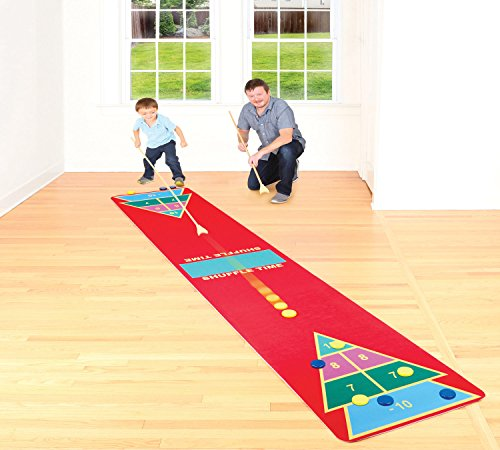 Shuffleboard Rug Game – Classic Shuffle-Board Party Game for All Ages | Fun Floor Games for Adults and kids W2.25' x L12' |Kit Includes 2 Wooden Cues and 10 wooden Pucks – Indoors | Outdoors