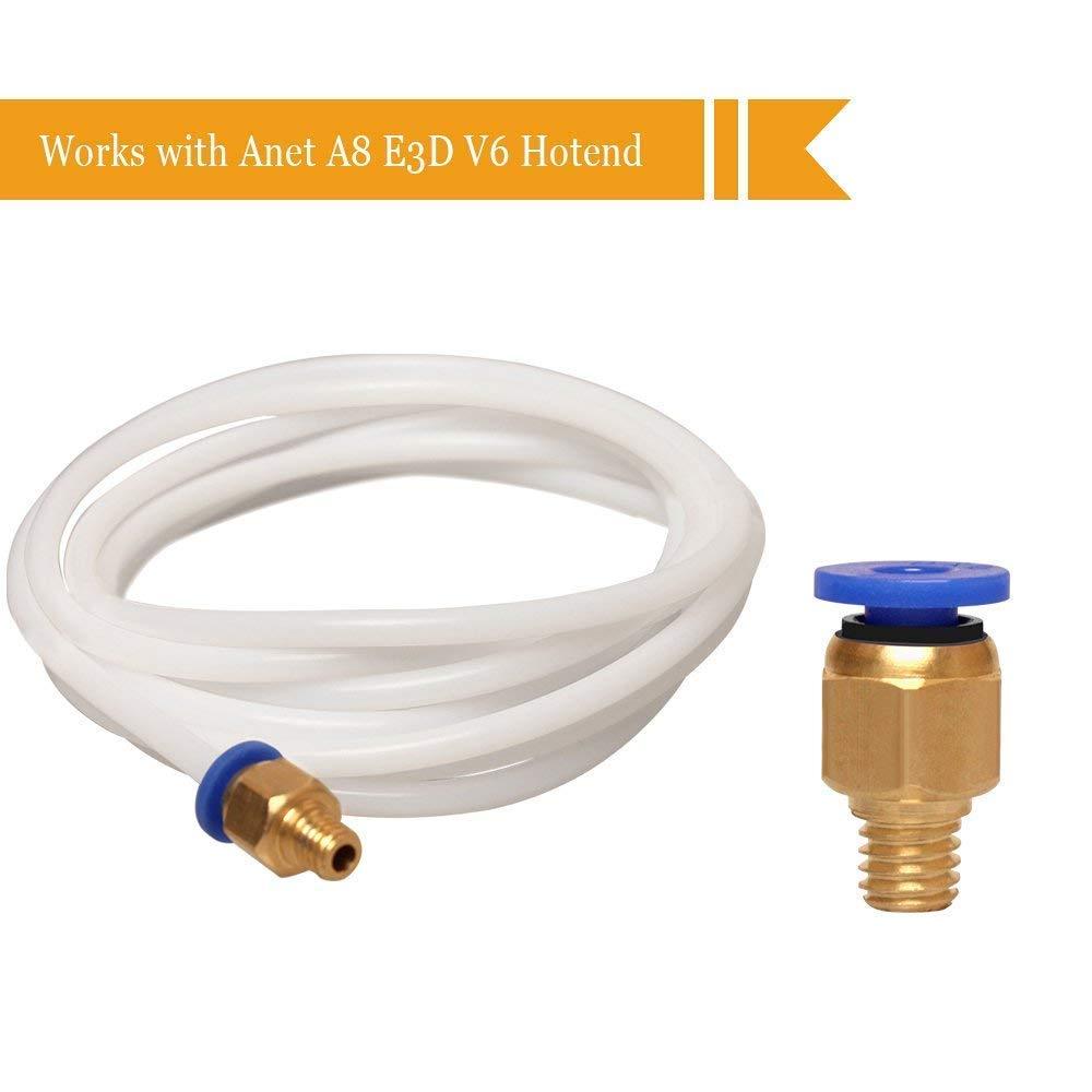 6 Pcs PC4-M6 Montage Rapide pour 1.75mm Filament V6 3D Imprimante RUNCCI Accessoires pour Imprimante 3D 4M/ètres PTFE T/éflon Tube 2.0mm ID // 4.0mm OD