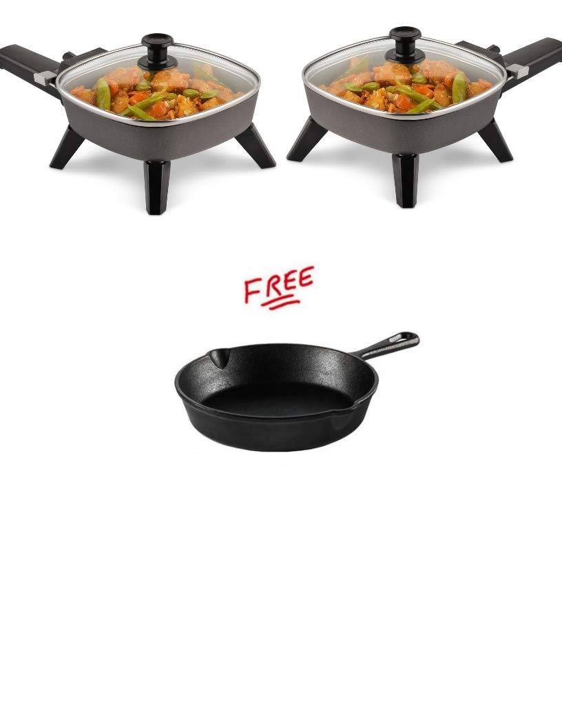 Pack of 2 with FREE Toastmaster TM-601SK Electric Skillet, 6 inch, Black