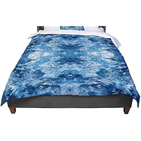 KESS InHouse Ebi Emporium Tie Dye Helix Blue White King Cal King Comforter 104 X 88