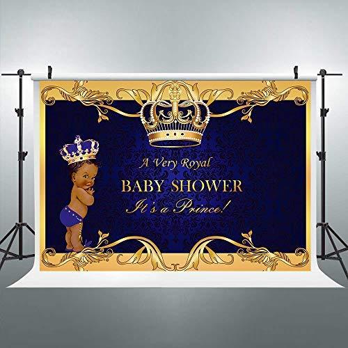 Riyidecor Crown Royal Prince Backdrop Kids Black Africa Boy Photography Background 7x5ft Studio Baby Shower Blue Yellow Newborn Props Photo Birthday Party Photo Shoot Backdrop Vinyl Cloth -