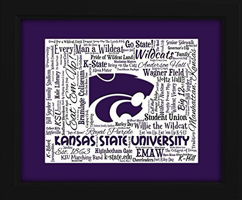 Kansas State University 16x20 Art Piece - Beautifully matted and framed behind glass (Wildcats Glass)