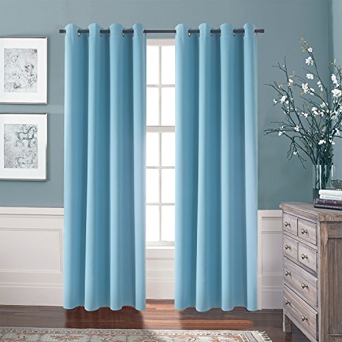 Aquazolax Premium Grommets Top Thermal Blackout Drape Curtains For Kidu0027s  Room, 52 X 84 Inch, Turquoise, Set Of 2