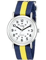 Timex Unisex TW2P67700 Weekender Blue/Yellow Stripe Nylon Slip-Thru Strap Watch