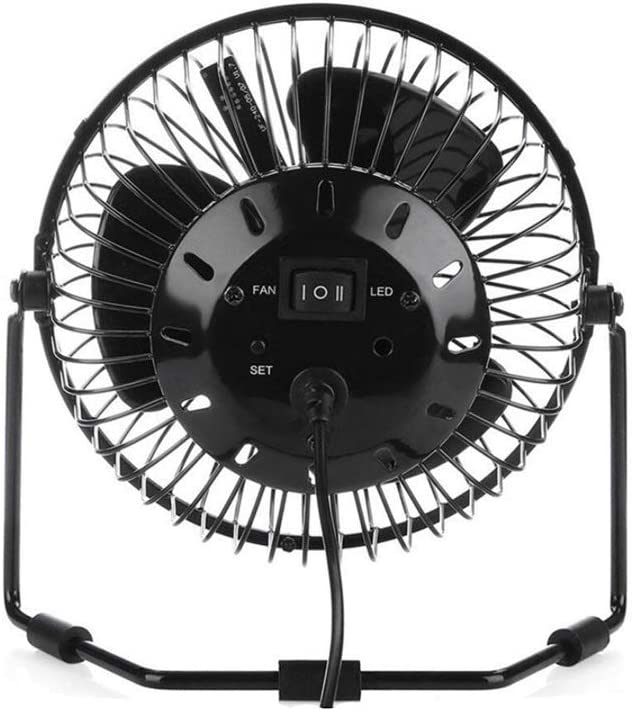 QXX USB Fan Portable Desktop Fan with Real Time Clock Metal Design Low Noise Suitable for Home and Office Student Dormitory Black