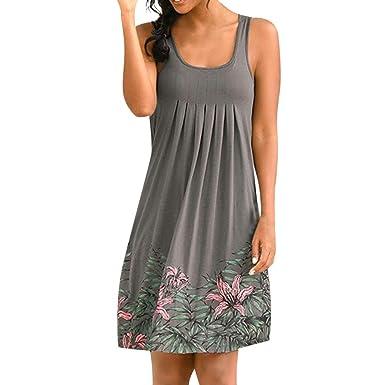 011c86306eb Makulas Women s Floral Print Midi Dress Sleeveless Swing Dress O Neck  Casual Party Beach Dresses Sundress at Amazon Women s Clothing store