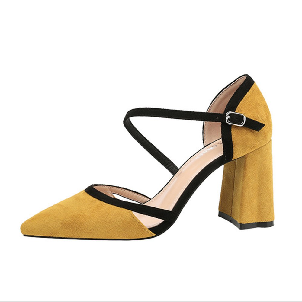 GAOLIXIA Frühling und Herbst Damenschuhe Damenschuhe Damenschuhe Splice Fashion High Heels Spitzen flachen Mund dick mit Damenschuhe Karriere Street Damen Singles Schuhe 58e898