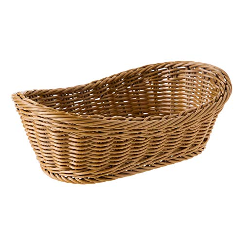 (Oval Wicker Woven Basket Bread Roll Basket Serving Basket for Food Fruit Cosmetic Storage Tabletop and Bathroom - 11.42inch)