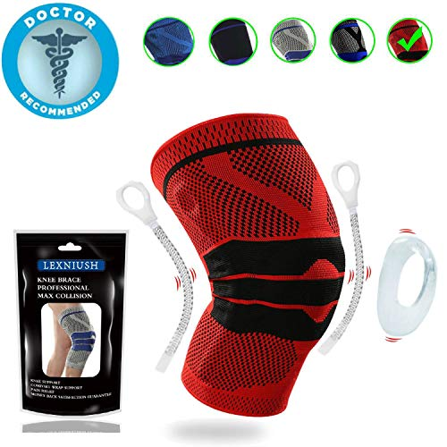Professional Knee Brace Compression Sleeve - Best Knee Pads Knee Braces for Men Women, Medical Grade Knee Sleeves Support for Meniscus Tear, Arthritis, Joint Pain Relief, Sports Injury ()