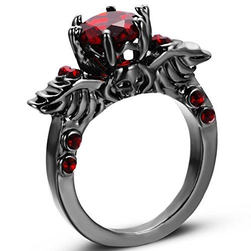 Black Rhodium Plated Retro Vintage Gothic Skull Devil Ring (Red, (Gothic Devil Costume)