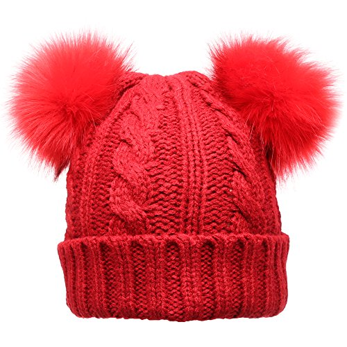 MIRMARU Women's Winter Knitted Faux Fur Double Pom Pom Beanie Hat with Plush ()