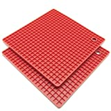 : Freshware KT-220RD 7-Inch Silicone Honeycomb Pot Holders and Trivets, Set of 2