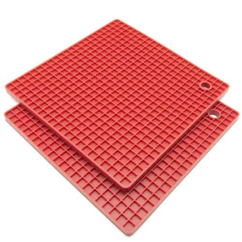 Freshware KT-220RD 7-Inch Silicone Honeycomb Pot Holders and Trivets, Set of 2