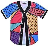 HOP FASHION Youth Hip Hop Baseball Jersey Short Sleeve 3D Floral Cartoon Pineapple Print Baseketball Dance Team Uniform Tees HOPM007-85-M