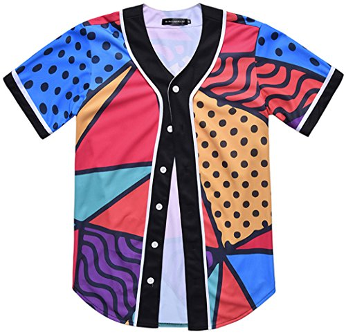 (HOP FASHION Youth Hip Hop Baseball Jersey Short Sleeve 3D Floral Cartoon Pineapple Print Baseketball Dance Team Uniform Tees HOPM007-85-L)