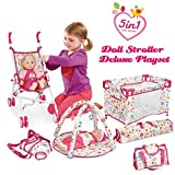 old baby stroller - Liberty Imports 5-in-1 Deluxe Newborn Baby Doll Stroller Nursery Playset with Play Mat, Playard, Baby Carrier, and Travel Bag (Doll Included)