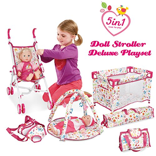 Liberty Imports 5-in-1 Deluxe Newborn Baby Doll Stroller Nursery Playset with Play Mat, Playard, Baby Carrier, and Travel Bag (Doll Included) (Newborn Doll Stroller)
