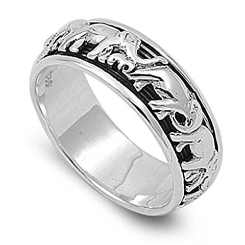 Prime Jewelry Collection Sterling Silver Women's Circus Elephant Spinner Ring (Sizes 4-14) (Ring Size 11) (Rings For Sale Elephant)
