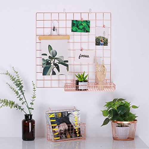 Kufox Multifunction Electroplated Bling Metal Mesh Grid Panel, Wall Decor / Photo Wall / Wall Art Display and Organizer, Pack of 1 Pcs, Size:23.6 x 23.6, Rose Gold