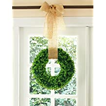 "Lvydec Artificial Green Leaf Wreath - 15"" Cypress Leaf Round Wreath Nearly Natural Door Wreath for the Front Door, Wedding, Home Décor"