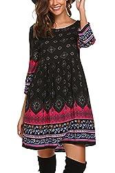 Se Miu Women Bohemian Vintage Printed Crew Neck Ethnic Style Loose Casual Boho Tunic Dress S 1 Black