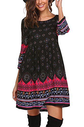 - SE MIU Women Long Bell Sleeve Loose Bohemian T-shirt Dress, Black, L