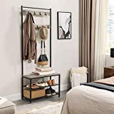 VASAGLE DAINTREE Coat Rack, Hall Tree Entryway Shoe