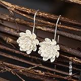 usongs Original hand-Chiang Mai Lotus 925 sterling silver earrings long paragraph tassel earrings ear wire earrings women girls classical Thai
