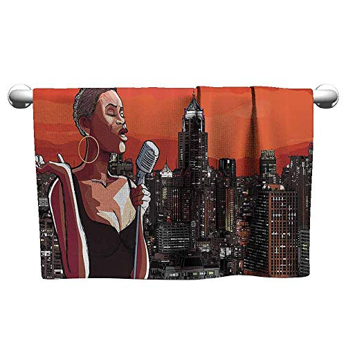 DUCKIL Modern Hand Towels Afro Decor Jazz Singer on New York Roof Cityscape Urban Music Popular Town Illustration Extra Long Bath Sheet 63 x 31 inch Scarlet Grey]()
