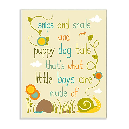 The Kids Room by Stupell Textual Art Wall Plaque, Snips and Snails and Puppy Dog Tails, 11 x 0.5 x 15, Proudly Made in USA (Dog Plaque Puppy Wall)