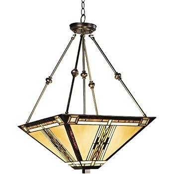 walnut mission style pendant chandelier robert louis tiffany