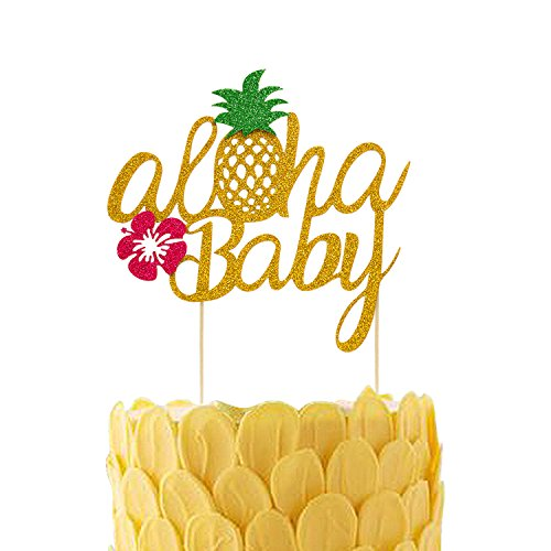 Pineapple Cake Toppers Aloha Baby Shower Birthday Glitter Decorations Hawaiian Tropical Beach Pool Laua Party Favor (Homemade Baby Shower Favors)