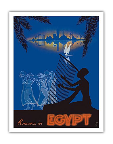 Pacifica Island Art Romance in Egypt - Love on the Nile River - Ancient Egyptian Harp Player, Dancing Girls - Vintage World Travel Poster by M. Azmy c.1930s - Fine Art Print - 11in x 14in (The Best Harp Player In The World)